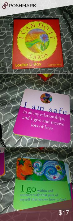 Louise Hay I Can Do It Affirmation Cards Louise Hay brings you 60 Affirmation Cards  on subjects like wealth,  health,  overcoming stress,  job success & Self-Esteem.  Add to a bundle for a good value. LouiseHay Accessories