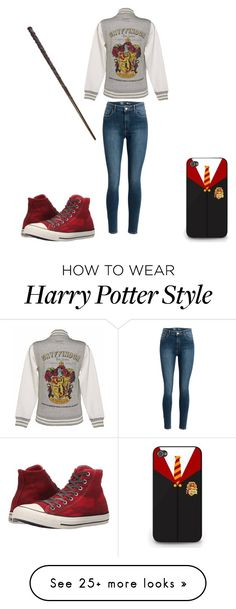 """""""Causal Harry Potter"""" by a-ms-valdez on Polyvore featuring Converse"""