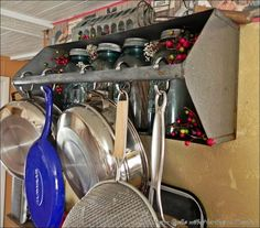 Repurposed tool box~pot rack, so handy.