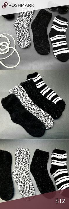 4 PAIR  Incrediblly SOFT Super FUZZY Socks Incrediblly soft, super stretchy FuZZY SoCKs! Made from a blend of Polyester, rubber and spandex so they will keep your feet cool, not sweaty and there thin, not to thick like some traditional FuZZY SoCKs so you can wear em with any types of shoe you'd like.  Your gonna love these socks. Be sure to Add them to a BUNDLE & SAVE ON SHIPPING!   BRAND NEW WITHOUT TAGS Fits Women's Shoe Sizes 6-11 BP Accessories Hosiery & Socks