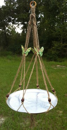 Large Butterfly Trio Jute Macrame Plant Hanger Bird Feeder Table Tray Top…