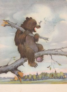 "Postcard Illustration by Tkachev for Russian Tale ""Komar Komarovich"" - 1955, Soviet Artist. Condition 5/10"