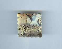 Gold Eagle Brooch by designmosaic. Made from polymer clay. Antique Japanese image. #handmade #jewelry