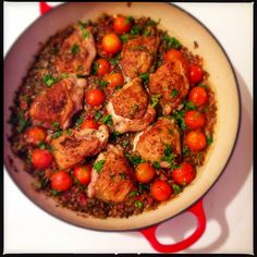 Roasted chicken with pancetta and lentils - Donna Hay