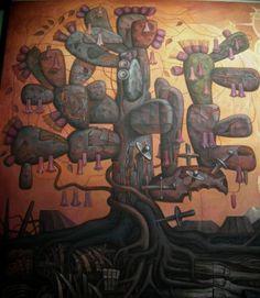 """México y Chile entrelazados : Mural de Jorge Gonzalez Camarena: """"Presencia de America Latina"""" <BR> <BR>El nopal, árbol nacional de México, se entrelaza con el copihue, flor nacional de Chile. <BR>Sobre el tronco del nopal se clavan espadas y puñales, que expresan las agresiones sufridas a lo largo de su historia. <BR> <BR>""""Y no hay belleza como esta belleza, de America extendida en sus infiernos, en sus cerros de piedra y poderíos, en sus ríos atávicos y eternos...."""" <BR>Pablo Neruda <BR…"""