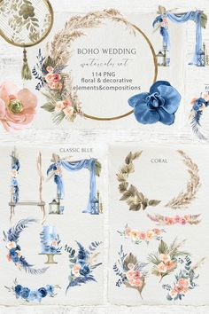 Introducing the Bohemian Wedding Decor Watercolor Set! Want to get into the trend of the new season? Then this set is for you! It contains the most relevant Bohemian Wedding Decorations, Ceremony Decorations, Boho Wedding, Wedding Blue, Watercolor Texture, Watercolor Flowers, Bouquet, Deco Boheme, Pampas Grass