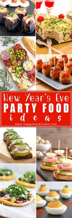 Looking for New Year's Eve party food ideas? Look no more! Ring in the New Year with these simple party recipes. We love them and hope you will too. | happyfoodstube.com