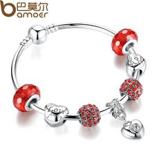 Silver Charm Bracelet & Bangle with Heart Pendant & Red Crystal Ball LOVE Charm Friendship Bracelet PA3068 $7.76 => Save up to 60% and Free Shipping => Order Now! #fashion #woman #shop #diy www.rodjewelry.co...