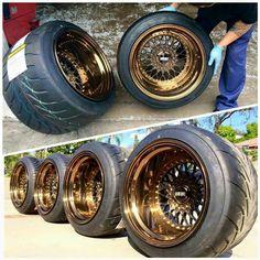 I've got a thing for wide wheels and deep lips. Rims For Cars, Rims And Tires, Wheels And Tires, Car Wheels, Custom Chevy Trucks, Custom Cars, Acura Rsx Type S, Bronze Wheels, Bmw E34