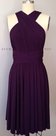 Dark Purple Grape Eggplant Infinity Dress Convertible Formal Multiway Wrap Dress Bridesmaid Dress Toga Cocktail Dress Evening Dress Short by AtomAttire on Etsy https://www.etsy.com/listing/201315777/dark-purple-grape-eggplant-infinity