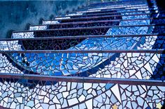 blue mosaic stairs