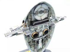 Finemolds SLAVE I [Boba Fett's customized version] Mandalorian Ships, Sci Fi Spaceships, Space Engineers, Star Wars Models, Boba Fett, Starwars, Engineering, Toys, Interior