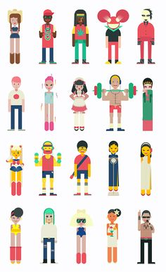 Character design for music app by Qian Hao, via Behance