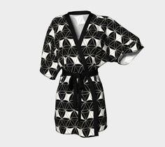 """Kimono+Robe+""""Rhomboids+black-white""""+by+Cveti+"""