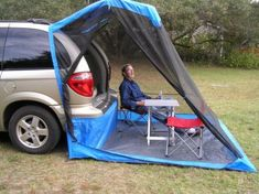 The Tail Veil (www.tailveil.com) If you want to camp in your minivan you absolutely, positively must purchase a Tail Veil— and don't forget to order the rain fly option! Here's why: 1) Used without the rain fly, it performs flawlessly as an easy-to-set-up