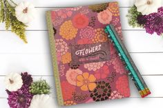 Scattered Flowers personal diary custom notebook by Teakberry