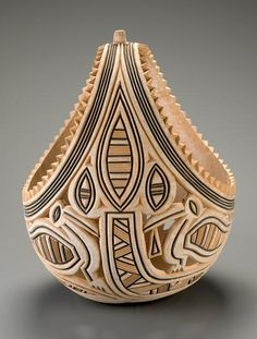 Africa | Basket from the Yoruba people of Oyo, Nigeria | ca. 1973 | Gourd, pigment
