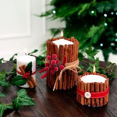 Handmade Christmas Cinnamon Candle. These folk-inspired candles give off a beautiful festive smell when lit and will add a festive touch to all-white mantelpieces. They will make a great homemade Christmas gift too. Visit www.redonline.co.uk for more homemade Christmas decoration ideas.