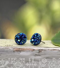 Glitter Stud Earrings  Blue Teal Black  10mm Faux by LizHutnick