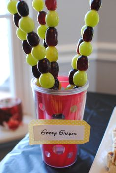 FOOD GOOFY GRAPES Whowouldathunk (yes, this is totally a word y'all) that grapes could make such a pretty presentation? Skewers did the trick to make these just right for individual servings. Mickey Mouse Bday, Mickey Mouse Clubhouse Birthday Party, Mickey Mouse Parties, Mickey Party, Mickey Mouse Birthday, Birthday Fun, First Birthday Parties, First Birthdays, Birthday Ideas