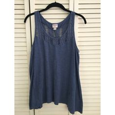 Blue tank top Simple top can be dressed up or down, cute crochet like detail on front and back. Only worn a few times. Mossimo Supply Co Tops Tank Tops