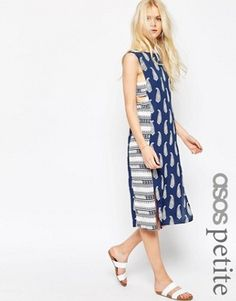 ASOS PETITE Midi Sundress in Mixed Print with Tab Side Detail