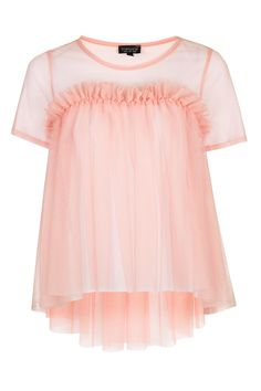 Tulle Dip Hem Top - Tops - Clothing - Topshop USA