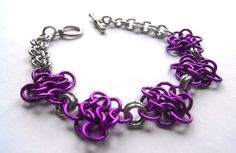 Chainmaille rosette bracelet in purple and silver @DoBatsEatCats #dteam