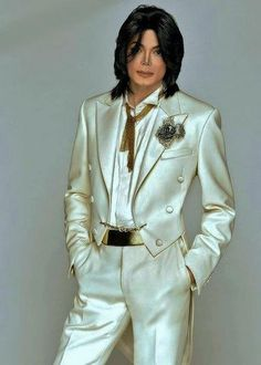 Michael Jackson in a white tuxedo - sharp as all hell!