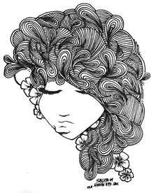 I chose this one because the artist made the hair look like flowers and the lines he used looks like realistic hair.