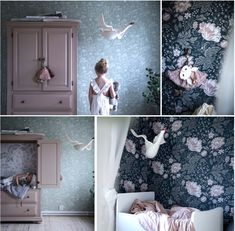 Anna Kubel has collaborated with Sanberg wallaper to create a mini collection of children's wallpaper called Kubel Kids, inspired by childhood memories. Woodland Nursery Decor, Nursery Wall Decor, Kids Wallpaper, Big Girl Rooms, Animal Nursery, Black Decor, Girls Bedroom, Animal Decor, Kids Room