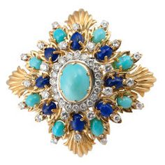 Large Diamond Turquoise and Lapis Brooch