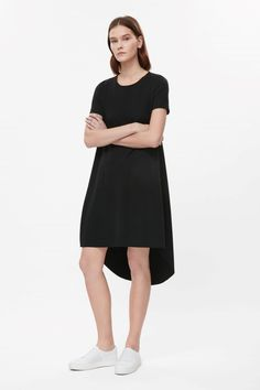 Contemporary Fashion - black high low dress, minimal style // COS