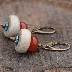 RAKU earrings  with Carnelian OOAK