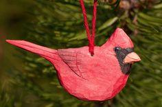 Hand Carved Wood Cardinal Christmas Ornament. $12.00, via Etsy.
