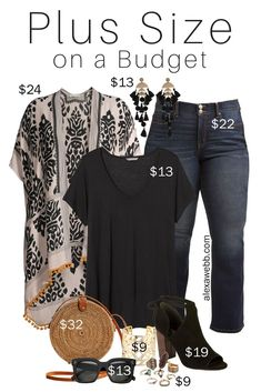 Plus Size on a Budget – Kimono - Alexa Webb Plus Size on a Budget – Kimono Outfit with black t-shirt, bootcut jeans, rattan straw bag, boho accessories and statement earrings - Alexa Webb Kleidung Curvy Fashion, Boho Fashion, Autumn Fashion, Plus Fashion, Womens Fashion, Fashion Outfits, Budget Fashion, Latest Fashion For Women, Spring Fashion
