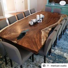 My pic comes from this beautiful and enormous dining table from I'll be wrapping up a couple small projects today and then moving on to some Christmas activities with the family. Wood Slab Dining Table, 8 Seater Dining Table, Wooden Dining Room Chairs, Farmhouse Table Chairs, Dinning Room Tables, Dining Table Design, Decoration, Sweet Home, Woodworking