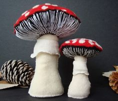 Limited Edition Plush Fabric Sculpture Set - Agaric Daddy and Child Mushrooms