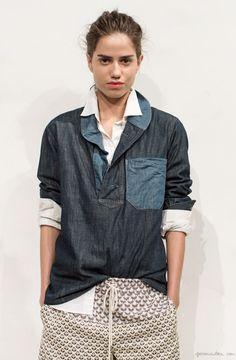 J. Crew Collection, denim shirt, silk pants, white button down / Garance Doré
