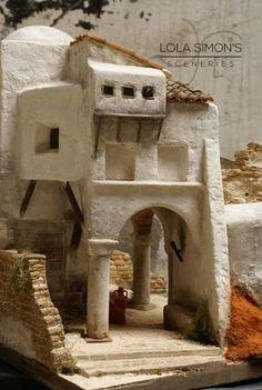 Lola Simon's Sceneries. : Alfarería Miniature Crafts, Miniature Houses, Christmas Crib Ideas, Fontanini Nativity, Cement Art, Christmas Nativity Scene, Nativity Scenes, Modelos 3d, Fairy Houses