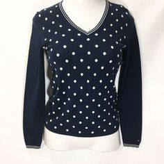 13e77797147c TOMMY HILFIGER Womens Blue Polka Dot Sweater Size S   100% Cotton LS V-