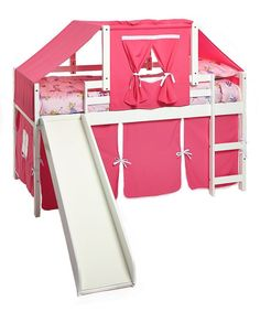 Create your daughter's dream room with our girl bunk beds complete with slide! The under-bed area is tented to create a fun play space and a great area to keep toys. The top tent turns the loft bed in