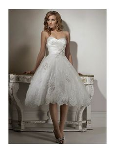 Princess Strapless Lace Lique Tea Length Ball Dress Available In Many Colors Wedding