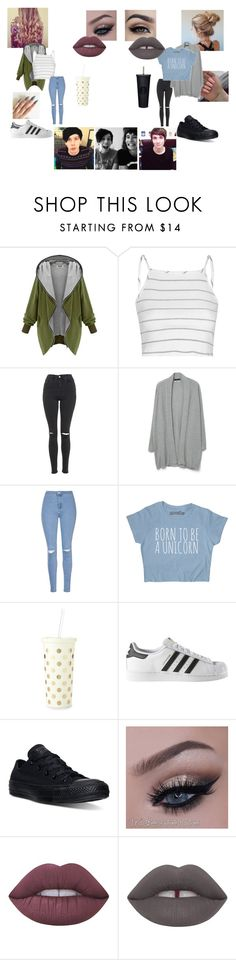 """""""Untitled #23"""" by mh-1604482 on Polyvore featuring Glamorous, Topshop, MANGO, Kate Spade, adidas, Converse and Lime Crime"""