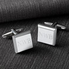 "Modern Square Cufflinks. Finding special gifts for him is no difficult task when you consider the many personalized options available for wedding parties as well as many other events. Father's Day, birthdays and other occasions are also a great opportunity to give these attractive modern cufflinks. MEASUREMENTS: Measures 5/8"" (diameter) by 1"" in length. PERSONALIZATION: Personalize with three initials. MARKETING: Perfect for the groomsmen or to spruce up that..."