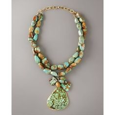 devon leigh big stone turquoise necklace