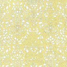 Comblé White On Pale Yellow Wallpaper Damask Modern Roll Wall