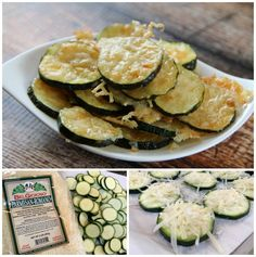 Low Carb Zucchini Parmesan Chips Ingredients 4 small zucchini's 1 to 1 1/2 cups Parmesan Cheese (or your favorite cheese) Optional: Low Sugar Spaghetti sauce for dipping