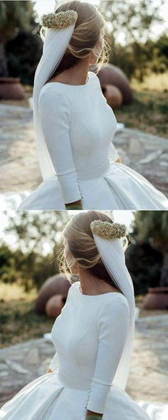Modest Wedding Dresses Satin Ball Gowns With Sleeves Most Beautiful Wedding Dresses, Elegant Wedding Dress, Modest Wedding Dresses, Ball Gown Dresses, Satin Dresses, Champagne Dress, Wedding Dress With Pockets, Princess Ball Gowns, Gowns With Sleeves