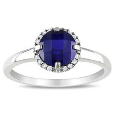 Amour White Gold Created Blue Sapphire Fashion Ring | Wayfair